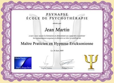 Diplome Maître Praticien en Hypnose Ericksonienne