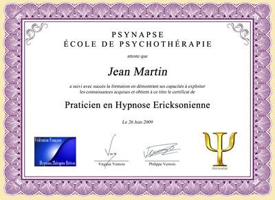 Diplome Praticien en Hypnose Ericksonienne