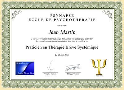 Diplôme pour praticien en thérapie brève systémique